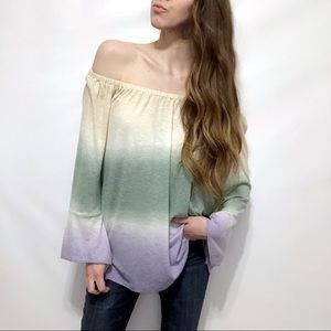 Seven7 Gradient Bell Sleeve Off-Shoulder Top
